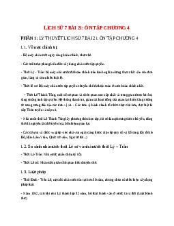 Lịch Sử 7 Bài 21: Ôn tập chương 4