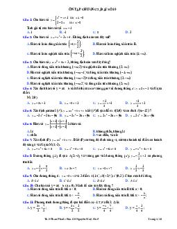 Ôn Tập Chương 2 - Đại Số Môn Toán Lớp 10