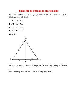 Trắc nghiệm Tính chất ba đường cao của tam giác có đáp án – Toán lớp 7