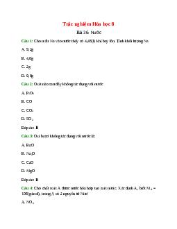 Trắc nghiệm Nước có đáp án – Hóa học lớp 8