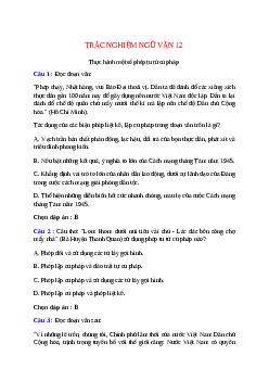 Trắc nghiệm Thực hành một số phép tu từ cú pháp có đáp án – Ngữ văn lớp 12
