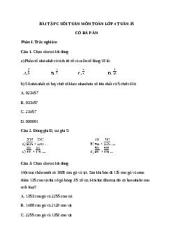 Bài tập cuối tuần môn Toán lớp 4 tuần 35 có đáp án