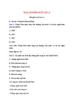 Trắc nghiệm Đàn ghi ta của Lor-ca có đáp án – Ngữ văn lớp 12