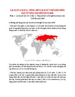 Lịch Sử 12 Bài 11: Tổng kết lịch sử thế giới hiện đại từ năm 1945 đến năm 2000
