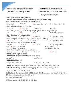 Đề giữa kì 1 môn toán lớp 8 Hà Nội năm học 2020-2021