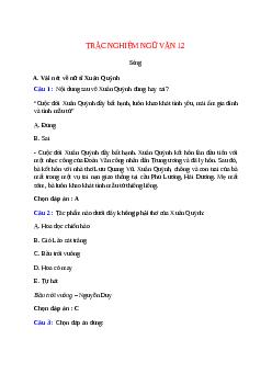 Trắc nghiệm Sóng có đáp án – Ngữ văn lớp 12