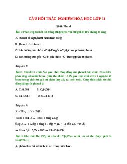 Trắc nghiệm Phenol có đáp án - Hóa học lớp 11