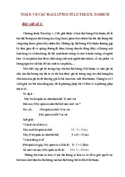 Dạng toán về các đại lượng tỉ lệ thuận, nghịch môn Toán lớp 5