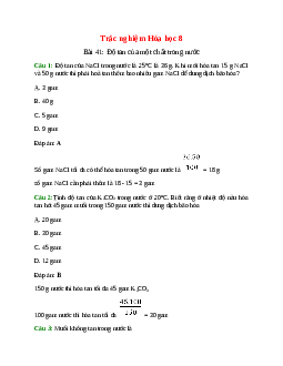 Trắc nghiệm Độ tan của một chất trong nước có đáp án – Hóa học lớp 8