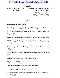 Bộ 8 đề thi Học kì 1 Ngữ văn 8 có đáp án