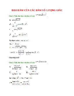 Trắc nghiệm Đạo hàm của các hàm số lượng giác có đáp án – Toán lớp 11