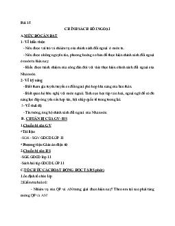 Giáo án GDCD 11 Bài 15 Chính sách đối ngoại tiết 1 mới nhất