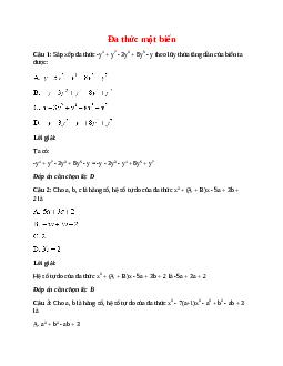Trắc nghiệm Đa thức một biến có đáp án – Toán lớp 7