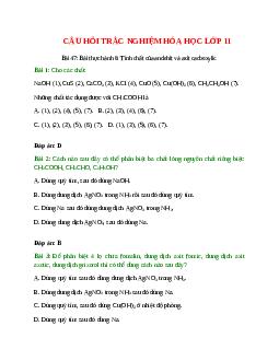 Trắc nghiệm Bài thực hành 6: Tính chất của andehit và axit cacboxylic có đáp án - Hóa học lớp 11