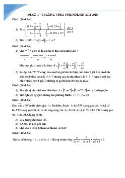 Bộ đề thi học sinh giỏi toán lớp 7