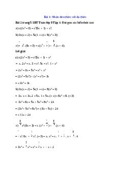 Giải bài Rút gọn các biểu thức sau: x(2x^2– 3) – x^2(5x + 1) + x^2 chi tiết