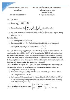 Tuyển tập đề vào 10 môn toán tỉnh nghệ an hệ đại trà