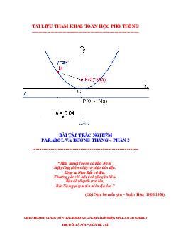 Tuyển Tập Bài Toán Trắc Nghiệm Parabol Và Đường Thẳng Phần 2 Môn Toán Lớp 10