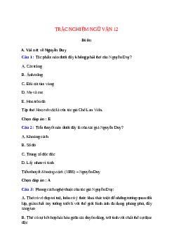 Trắc nghiệm Đò lèn có đáp án – Ngữ văn lớp 12
