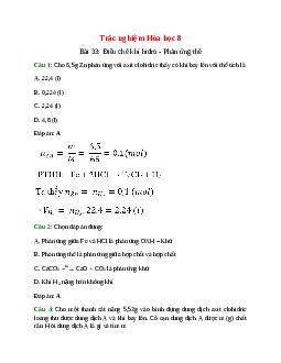 Trắc nghiệm Điều chế khí hiđro - Phản ứng thế có đáp án – Hóa học lớp 8