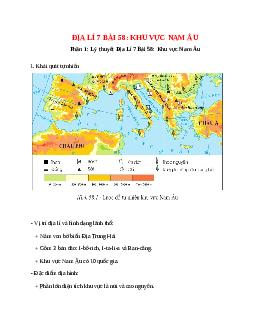 Địa Lí 7 Bài 58: Khu vực Nam Âu
