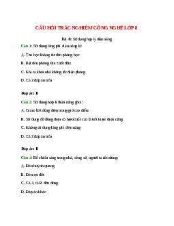 Trắc nghiệm Công nghệ 8 Bài 48 có đáp án: Sử dụng hợp lý điện năng
