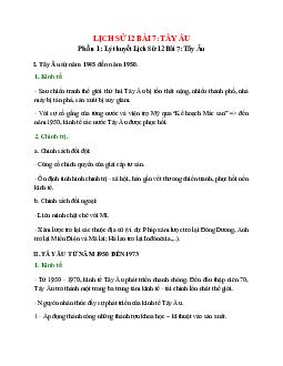 Lịch Sử 12 Bài 7: Tây Âu