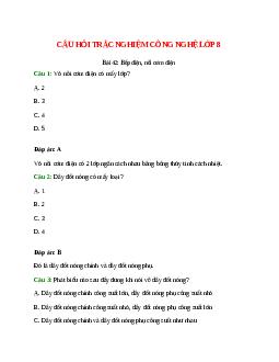 Trắc nghiệm Công nghệ 8 Bài 42 có đáp án: Bếp điện, nồi cơm điện