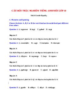 Trắc nghiệm Tiếng Anh 10 mới Unit 6 có đáp án: Gender Equality