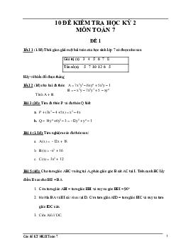10 đề kiểm tra học kì 2 môn Toán 7