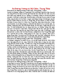 Tóm tắt An Dương Vương và Mị Châu - Trọng Thủy nhanh nhất, ngắn ngọn