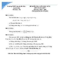 10 đề toán giữa kì 2 lớp 7 các trường Hà Nội