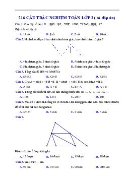 216 câu trắc nghiệm môn Toán lớp 3 có đáp án