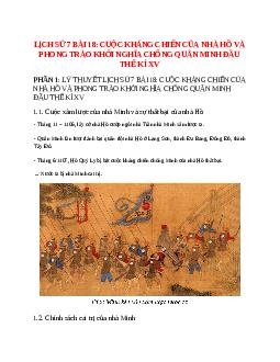 Lịch Sử 7 Bài 18: Cuộc kháng chiến của nhà Hồ và phong trào khởi nghĩa chống quân Minh đầu thế kỉ XV