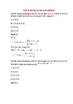 Trắc nghiệm Tích vô hướng của hai vectơ (phần 4) có đáp án – Toán lớp 10
