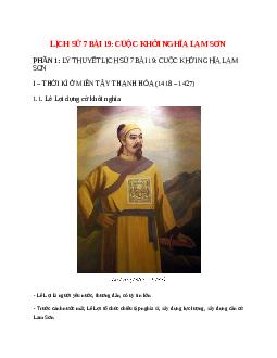 Lịch Sử 7 Bài 19: Cuộc khởi nghĩa Lam Sơn