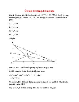 Trắc nghiệm Ôn tập Chương 3 Hình học có đáp án – Toán lớp 7