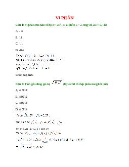 Trắc nghiệm Vi phân có đáp án – Toán lớp 11