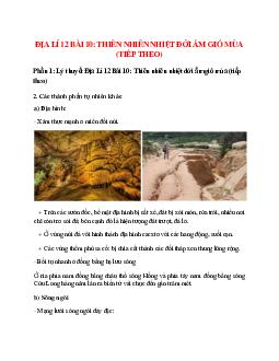 Địa Lí 12 Bài 10: Thiên nhiên nhiệt đới ẩm gió mùa (tiếp theo)