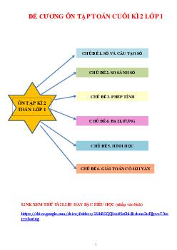 Đề cương ôn tập môn Toán cuối kỳ 2 môn Toán lớp 1 ( 6 chủ đề )