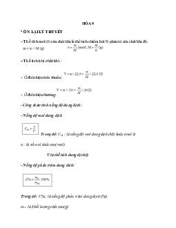 Bài tập về ôn tập hóa học 9 có chọn lọc
