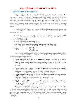 Chuyên đề hệ phương trình bồi dưỡng hệ phương trình