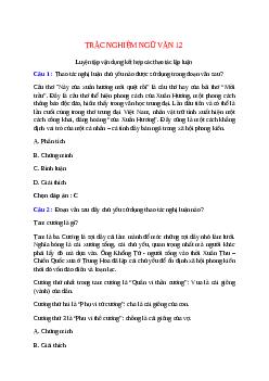 Trắc nghiệm Luyện tập vận dụng kết hợp các thao tác lập luận có đáp án – Ngữ văn lớp 12