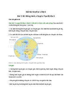 Địa lí 6 Bài 1: Hệ thống kinh, vĩ tuyến Tọa độ địa lí – Kết nối tri thức