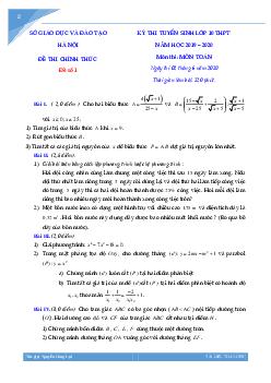 Tuyển tập đề thi vào lớp 10 môn toán Thành phố Hà Nội