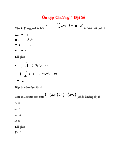 Trắc nghiệm Ôn tập Chương 4 Đại Số có đáp án – Toán lớp 7