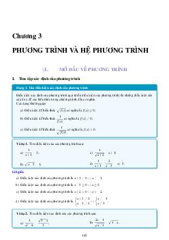 Ôn tập Chương 3: Phương trình và hệ phương trình môn toán lớp 10