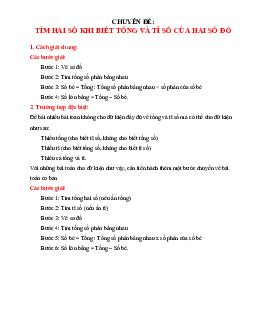 Dạng toán Tổng - Tỉ môn Toán lớp 4