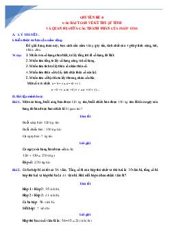 Chuyên đề các bài toán về kĩ năng tính toán