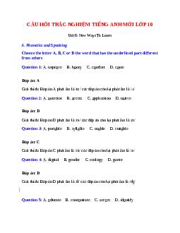 Trắc nghiệm Tiếng Anh 10 mới Unit 8 có đáp án: New Ways To Learn